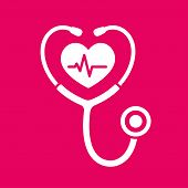 Stethoscope Icon With Heartbeat. Heart Health And Cardiology Symbol, Isolated Vector Illustration. poster
