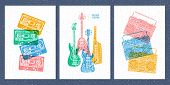 Musical Instruments, Electric Guitar, Bass Guitar, Keyboards, Piano, Tape Recorder, Cassette, Retro, poster