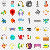 Headphones Icons Set. Cartoon Style Of 36 Headphones Vector Icons For Web For Any Design poster