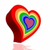 foto of plexus  - Colorful hearts for each chakra in white background - JPG
