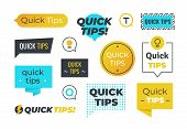 Advice Shapes. Quick Tips Helpful Tricks Emblems And Logos, Tip Reminder Banner Design Helped Inform poster