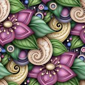 Colored Seamless Pattern With Floral Motifs. Endless Texture With Flowers, Leaves And Swirls. Natura poster