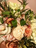 Spring Bouquet Of Mixed Colorful Flowers. Flowers Bouquet Including White Peony, Orange Rose, White  poster