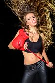 Boxing Girl. Sexy Girl In Sportswear. Sport. Fitness. Power. Exercising. Boxer Coach. Sexy Woman Wit poster