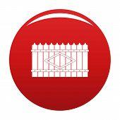 Wooden Peak Fence Icon. Simple Illustration Of Wooden Peak Fence Vector Icon For Any Design Red poster