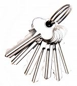 Bunch of keys on plain background