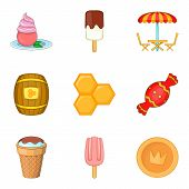 Confectionery Shop Icons Set. Cartoon Set Of 9 Confectionery Shop Icons For Web Isolated On White Ba poster