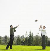 Businessmen throwing football in park
