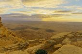 Sunrise View Of Makhtesh (crater) Ramon, In The Negev Desert, Southern Israel. It Is A Geological La poster