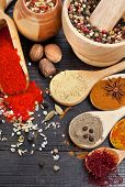 aromatic spices on spoons in wooden background