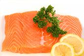 stock photo of salmon steak  - a raw salmon fillet - JPG