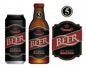 Vector Label For Dark Beer In Retro Style On Black Background, Decorated By Crown And Ribbon. Sample poster