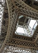 Incredible Bottom View Of Detail Of Truss Structure Of Eiffel Tower Called Tour Eiffel In French Lan poster