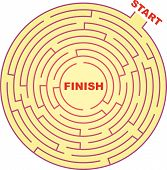 image of brain teaser  - A vector illustration of round maze  - JPG