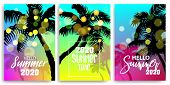 Blurred Greeting Hello Summer Time Banner. Vintage Retro Vacation Poster. Set Season Advertise Sale  poster
