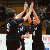 KAPOSVAR, HUNGARY - FEBRUARY 12: Debrecen players before a Hungarian volleyball National Championshi
