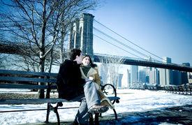 stock photo of brooklyn bridge  - couple in love - JPG