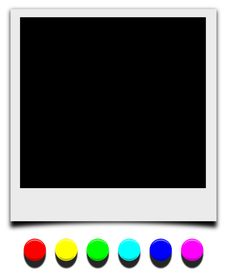 pic of polaroid  - Picture frame Polaroid style with color pushpin nail - JPG