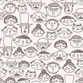 stock photo of male pattern baldness  - seamless pattern with doodle faces - JPG