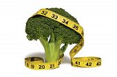 A Yellow Measuring Tape Draped Over a Stalk of Broccoli