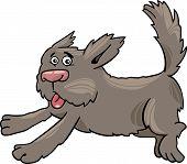 Running Shaggy Dog Cartoon Illustration