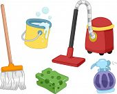 foto of cleaning agents  - Illustration of Different House Cleaning Tools and Items - JPG