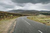 Highlands Of Scotland Road Landscape In Rain Weather, Uk