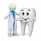 3D Dentist With A Smiling Tooth And Toothbrush