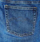 foto of welts  - Detail image of blue jeans especially trouser pocket - JPG
