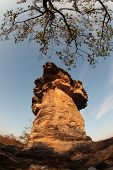 Mushmoon Stone And Blue Sky,the Natural Stone As Mushrooms.
