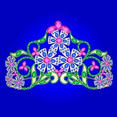 Tiara Women's Wedding With Precious Stones On A Blue
