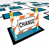 The word Change on a barricade on an org chart to symbolize new opportunity and changes to an organi
