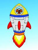 Cartoon Dog Astronaut In Spaceship