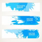 Abstract blue handdrawing banner set