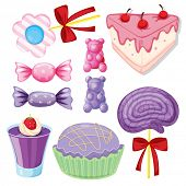 illustration of a various sweets on a white background