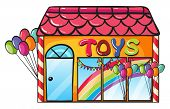 illustration of a toy shop on a white background
