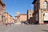 Panorama Of Piazza Del Nettuno In Bologna