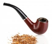 stock photo of tobacco-pipe  - Smoking pipe and tobacco isolated on white - JPG