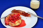 Strawberry Pancakes And Bacon