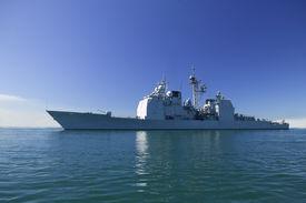image of ticonderoga  - Ticonderoga class guided missile cruiser at sea - JPG