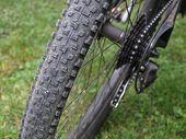 Back Wheel Treads of a Mountain Bike