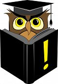 Illustration of wise owl in square graduation cap reading black book