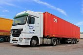 White Mercedes-benz Actros Truck And Trailer