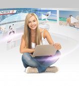 technology, internet, tv and news concept - young woman with tablet pc and virtual screens