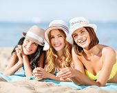 picture of sunbathers  - summer holidays and vacation  - JPG