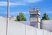 Berlin Wall Memorial, a watchtower in the inner area. The Gedenkstatte Berliner Mauer