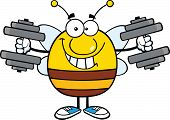 Smiling Pudgy Bee Cartoon Character Training With Dumbbells
