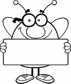 Black And White Pudgy Bee Cartoon Mascot Character Holding A Banner