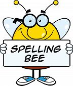 stock photo of bee cartoon  - Smiling Pudgy Bee Cartoon Mascot Character Holding A Banner With Text - JPG