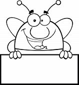 Black And White Pudgy Bee Mascot Character Over Blank Sign